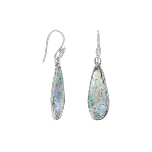 Ancient Roman Glass Womens Pear Drop Earrings Sterling Silver
