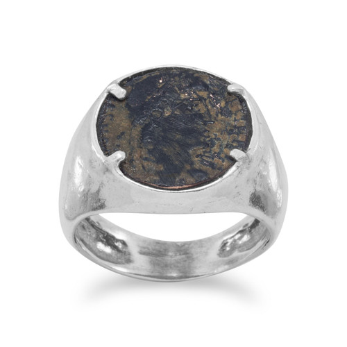 Ancient Roman Bronze Coin Unisex Ring Hammered Sterling Silver