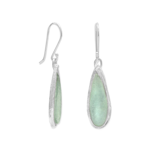 Ancient Green Roman Glass Womens Pear Drop Earrings Sterling Silver
