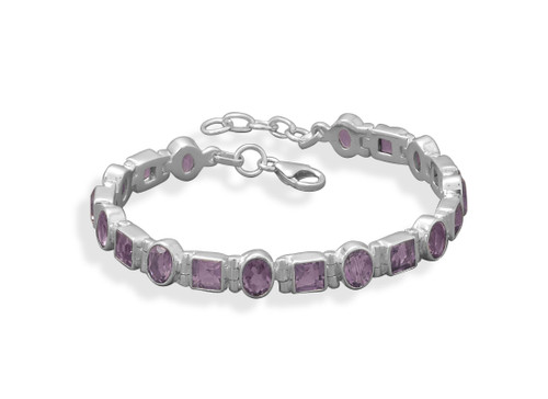 Oval and Square Amethyst Tennis Style Bracelet Sterling Silver