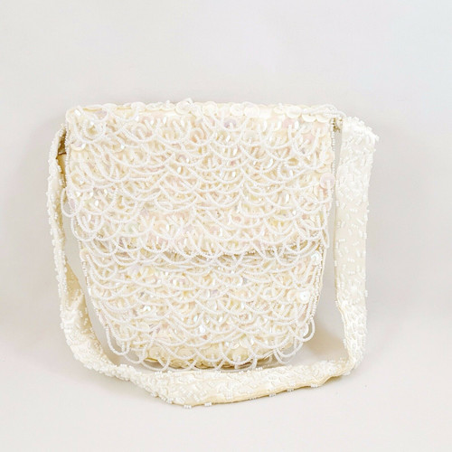 Encore Vintage Evening Bag Beads Sequins White Pink Made in Hong Kong