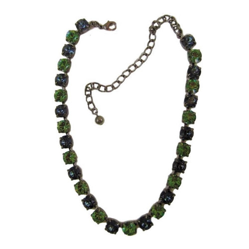 Vintage Gunmetal Black Necklace with Blue and Green Stones