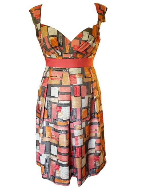 Jessica Simpson Orange, Brown and White Geometric Print Summer Dress, Size 14