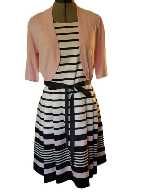 Jessica Howard Navy and White Striped Dress with Pockets and Pink Bolero Sweater