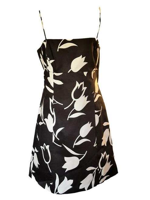 NEW-Nine West Black & White Summer Tulip Print Dress Spaghetti Straps, Sz 14