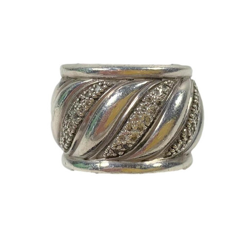 DAVID YURMAN Pre-Owned Sterling Silver Cigar Band Cable Ring w/Diamonds