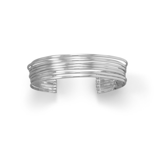 Classic 8 Row Cuff Rhodium Plated Sterling Silver