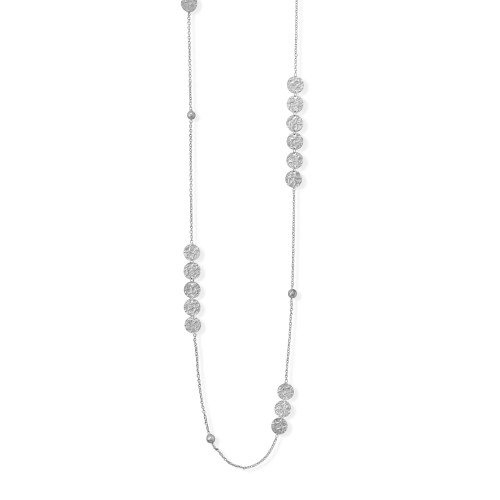 "Disks and Bead Womens 36"" Chain Necklace Rhodium Plated Sterling Silver"