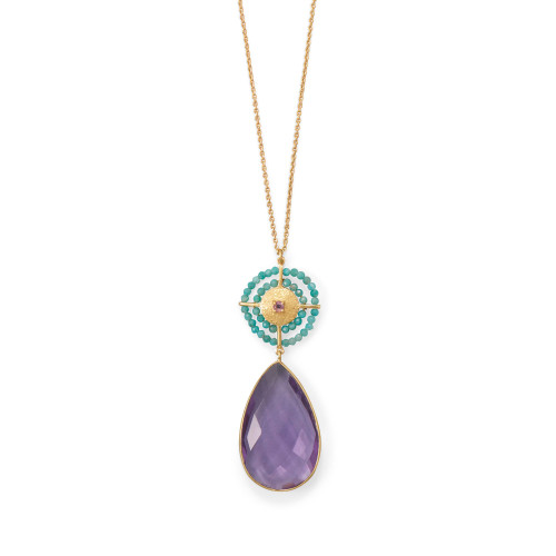 """Amethyst and Amazonite Womens 32"""" Necklace 14 Karat Gold Plated SS"""