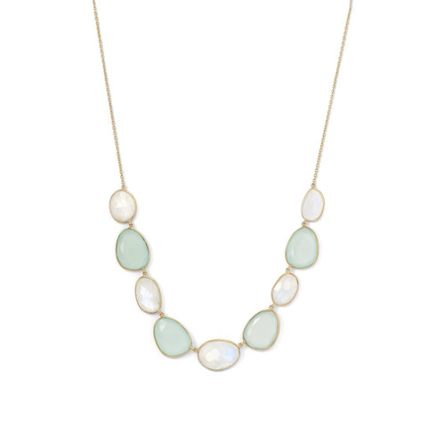 Rainbow Moonstone and Green Chalcedony Womens Necklace 14 Karat Gold Plated SS