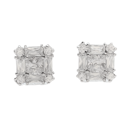 Pre-owned Sterling Silver Unisex Square Baguette CZ Earrings