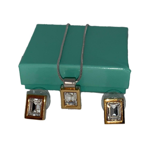 Crystal Rectangular Jewelry Set Earrings and Pendant Necklace