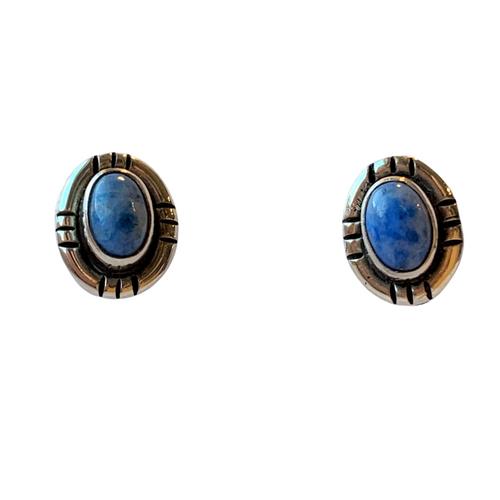 Vintage Ruth Ann Begay Navajo Denim Lapis Small Earrings in Sterling Silver