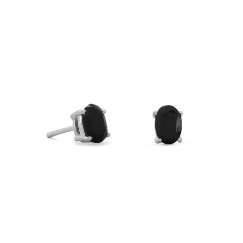 Sterling Silver Black Onyx Oval Stud Earrings