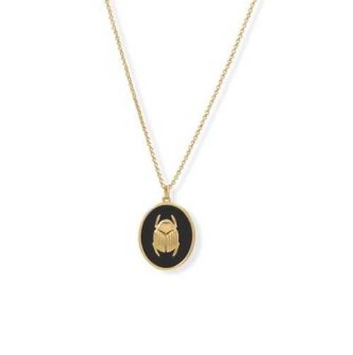 14 Karat Gold Plated Black Sacred Scarab Onyx Necklace