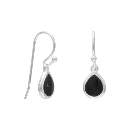 Sterling Silver Pear Inlay Black Onyx French Wire Earrings