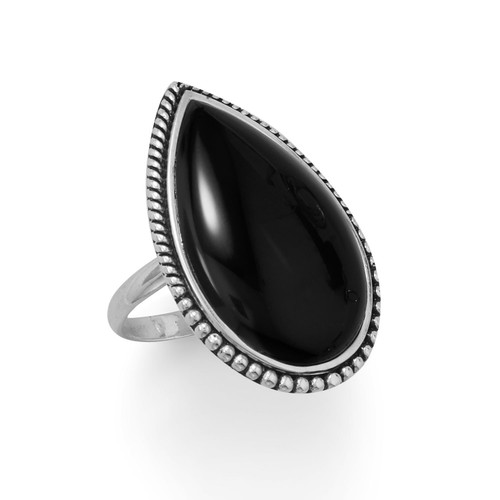 Sterling Silver Large Black Onyx with Beaded Edge Ring