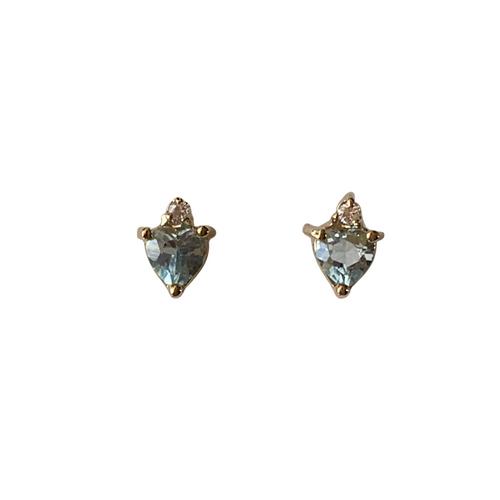 Pre-owned Sterling Silver Sky Blue Topaz Heart Earrings