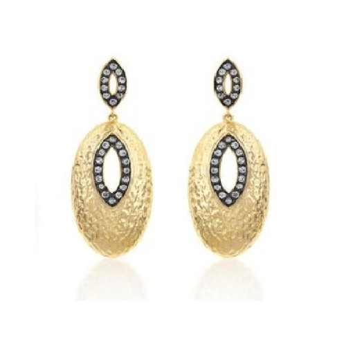 Courtney Kaye Marquise Earrings 14k Gold Plated & Hematite Bonded