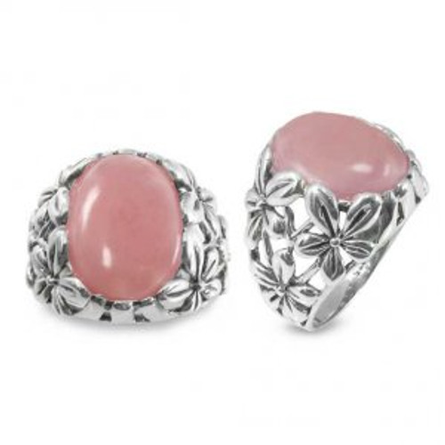 Sterling Silver Floral Peru Light Pink Opal Ring
