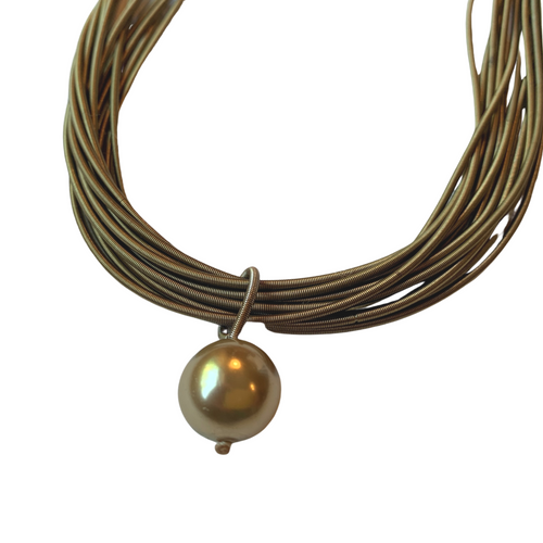 Vintage Gold Multi-Strand Steel Spring Cord Drop Bead Necklace