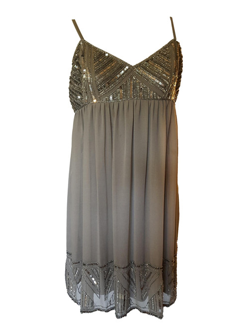 Pre-Owned Angie Grey Evening Dress with Sequins