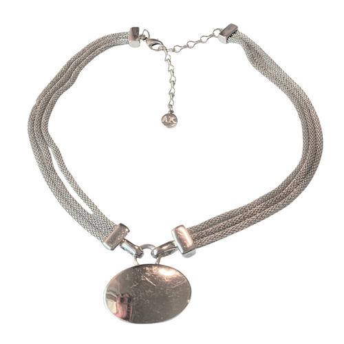 Anne Klein Vintage Silver Tone Triple Mesh Chain with Oval Drop Pendant