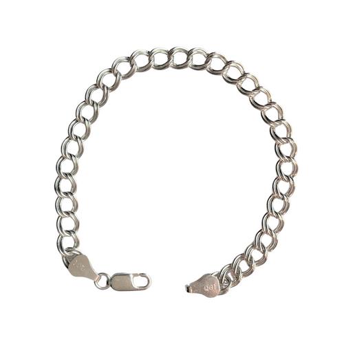 "Vintage Italian Sterling Silver Parallel Curb Chain 7"" Bracelet"