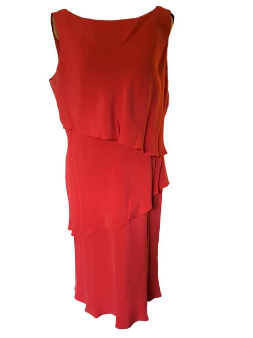 Vintage Jones New York Red Silk Flirty Dress - Size 14