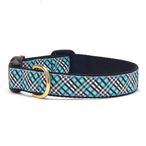 Up Country Aqua Plaid Ribbon Dog Collar