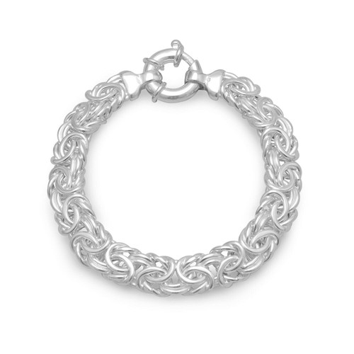 Sterling Silver 7 inch 160 Gauge Oval Byzantine Chain Bracelet