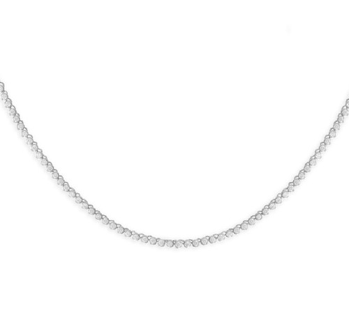 Rhodium Plated Sterling Silver 2mm Round CZ Tennis Necklace
