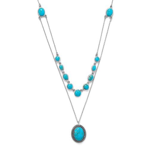 Sterling Silver Two strand Turquoise Necklace