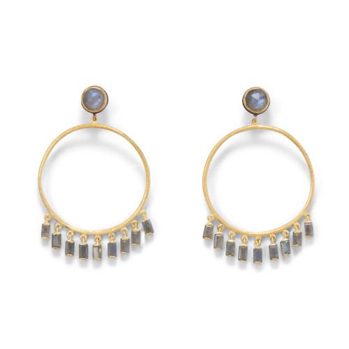 14 Karat Gold Plated Post Hoop Earrings with Dangling Labradorite
