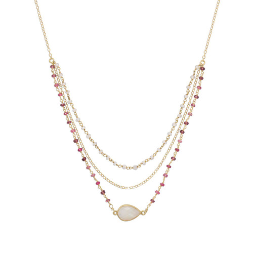 Gold Filled Rainbow Moonstone and Tourmaline Necklace