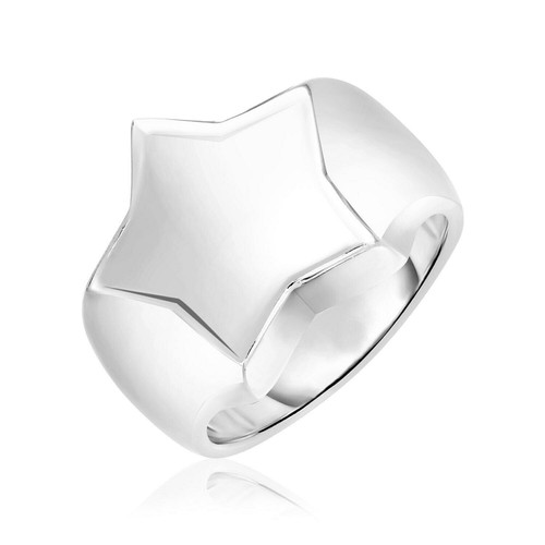 Sterling Silver Polished Star Crown Ring