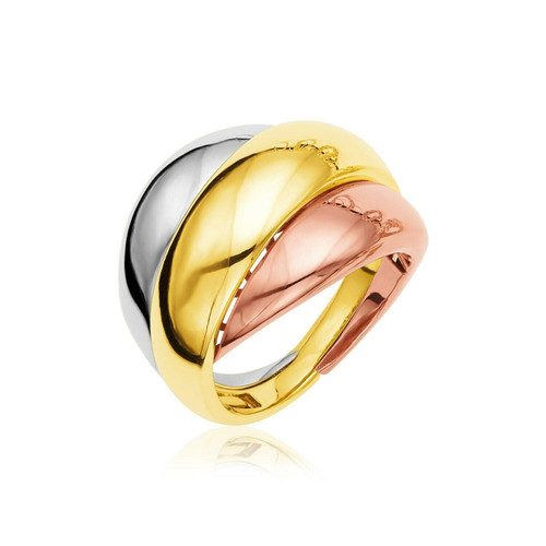 14k Tri Tone Gold Polished Dome Ring