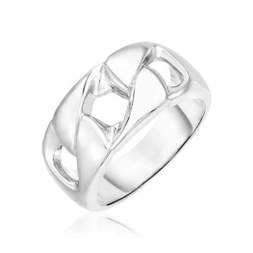 Sterling Silver Polished Swirl Motif Band Ring