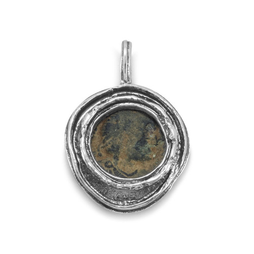 Oxidized Sterling Silver and Late Roman Bronze Coin Pendant