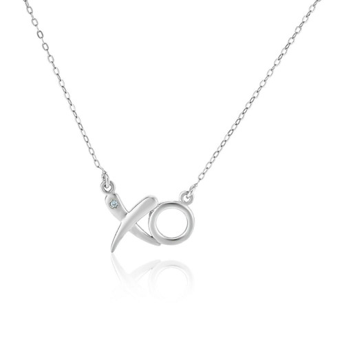 Sterling Silver 18 inch Necklace with XO Pendant with Diamond