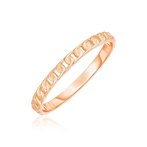 14k Rose Gold Ring with Bead Texture