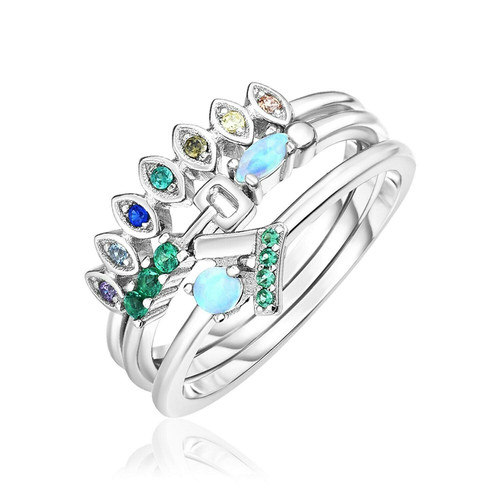 Sterling Silver Three Piece Stackable Set with Blue and Green Cubic Zirconias