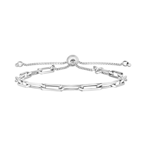 Sterling Silver Paperclip Chain Adjustable Bracelet