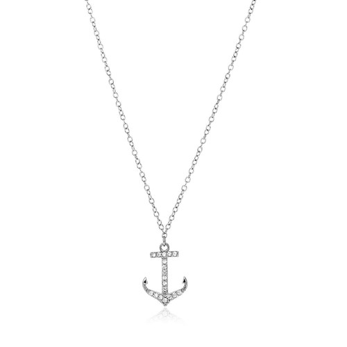 Sterling Silver Anchor Necklace with Cubic Zirconias