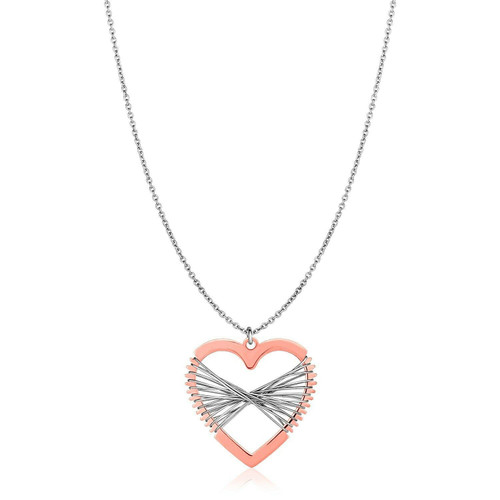 Sterling Silver Two Toned Wire Wrapped Heart Necklace