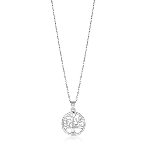 Sterling Silver inch Round Tree of Life Necklace