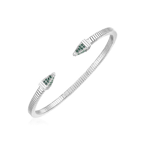 Sterling Silver Spike Cuff Bracelet with Forest Green Cubic Zirconias