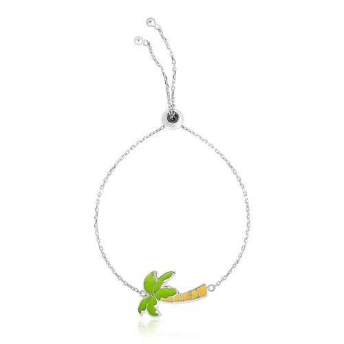 Sterling Silver 9 1/4 inch Adjustable Bracelet with Enameled Palm Tree