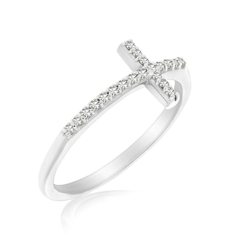 14k White Gold Cross Motif Ring with Diamond Accents (.11cttw)