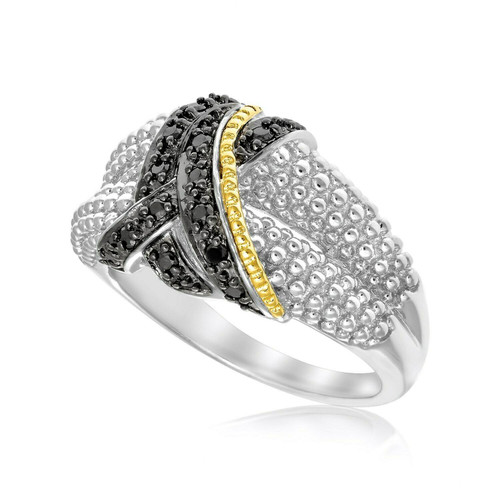 18k Yellow Gold & Sterling Silver Entwined Popcorn Ring with Black Diamonds